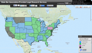 A screenshot of the State Bar Association - Provided Legal Research Services map.  Thank you Goodson Law Library!