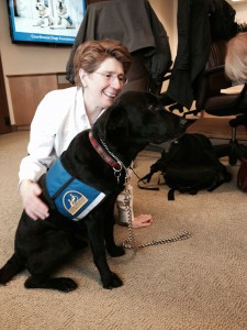 Molly B (a Courthouse Dog) with LLOPS member, Mary Whisner